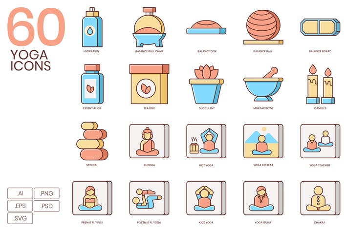 Thumbnail for 60 Yoga Icons | Honey Series