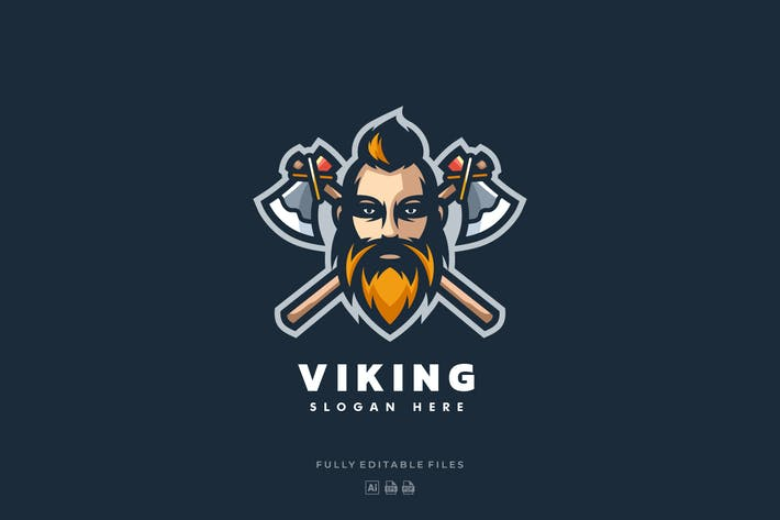 Thumbnail for Viking Mascot Color Logo