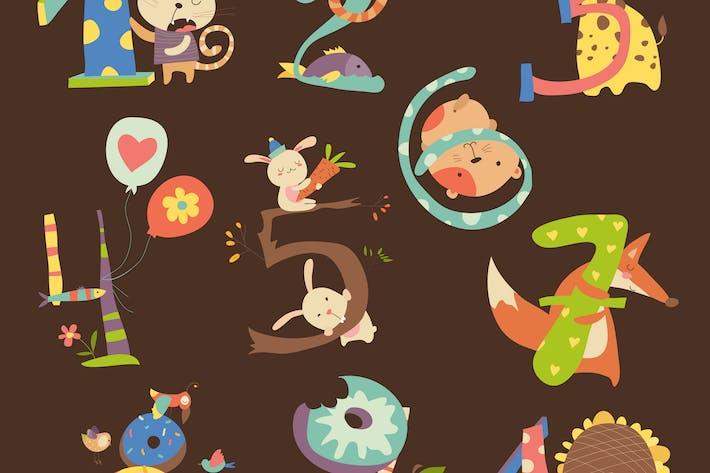 Thumbnail for Geburtstagszahlen mit Tieren