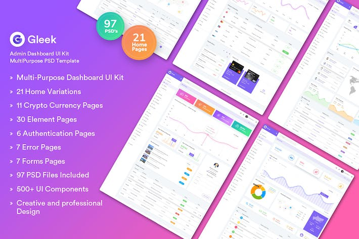 Thumbnail for Gleek - Admin Dashboard UI Kit MultiPurpose PSD