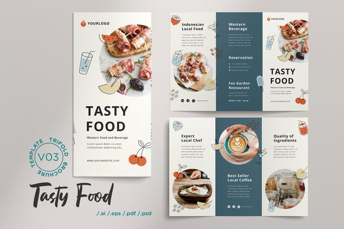Thumbnail for Trifold Brochure Vol.03 Tasty Food Menu Restaurant