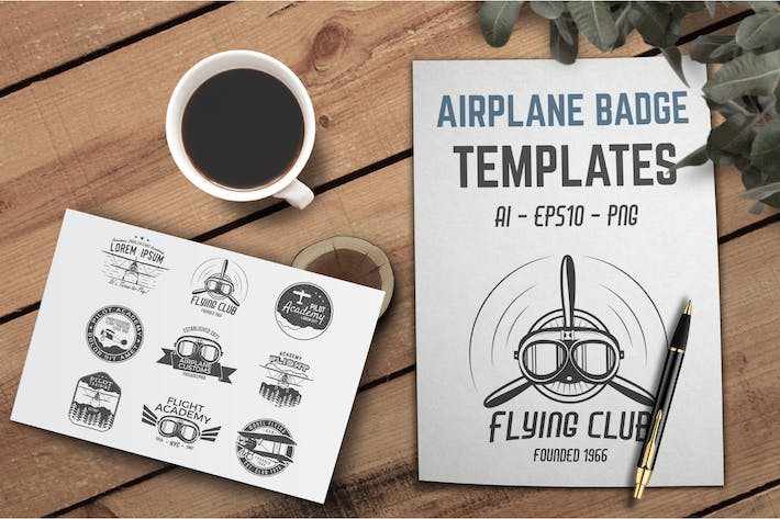 Thumbnail for Retro Airplane Badge / Vintage Logo Designs
