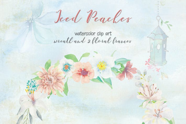 Thumbnail for Iced Peaches: Watercolor Wreath and Frames