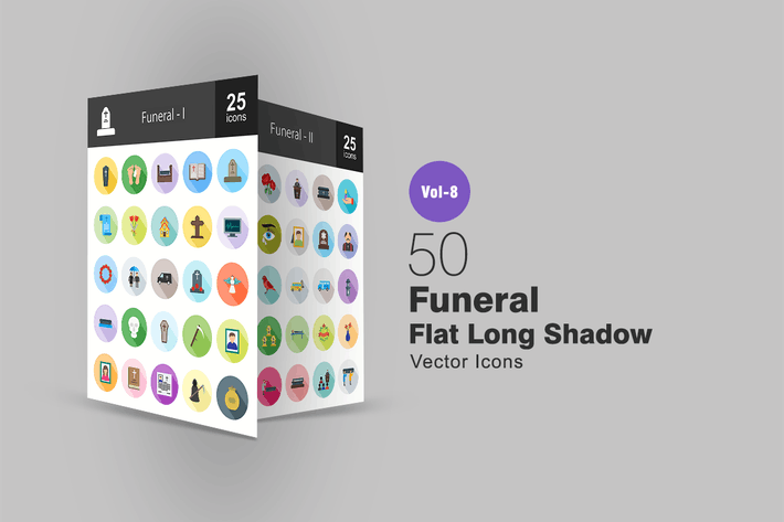 Thumbnail for 50 Funeral Flat Shadowed Icons