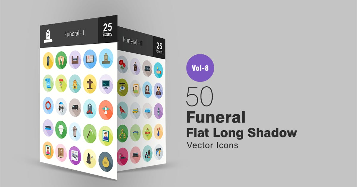 Download 50 Funeral Flat Shadowed Icons by IconBunny