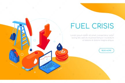 Fuel crisis - modern colorful isometric web banner
