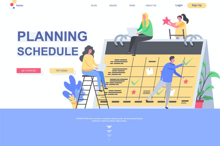 Thumbnail for Planning Schedule Landing Page Template