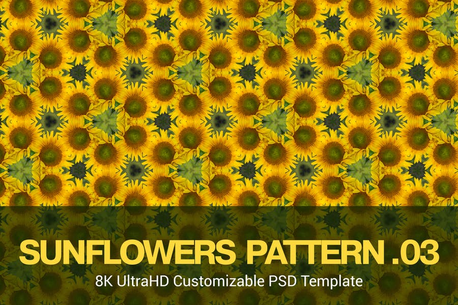 8K UltraHD Seamless Sunflowers Pattern Background