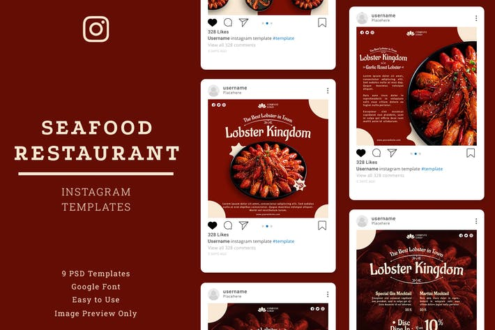 Thumbnail for Seafood Restaurant Instagram Post Template