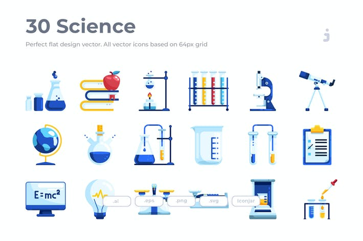 Thumbnail for 30 Science Icons - Flat