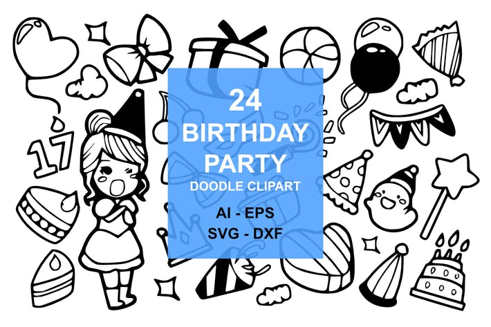 Thumbnail for 24 Birthday Party Doodles