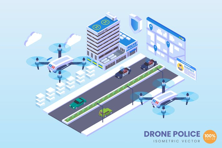 Thumbnail for Isometric Drone Police Vector Concept