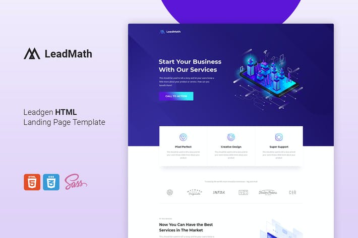 Thumbnail for LeadMath - Lead Generation HTML Landing Page Templ