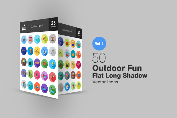 Thumbnail for 50 Outdoor Fun Flat Shadowed Icons