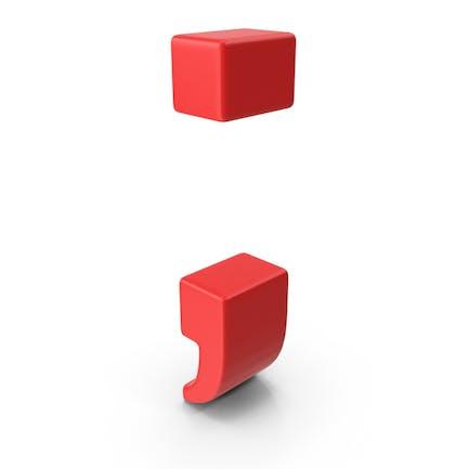 Símbolo de punto y coma rojo