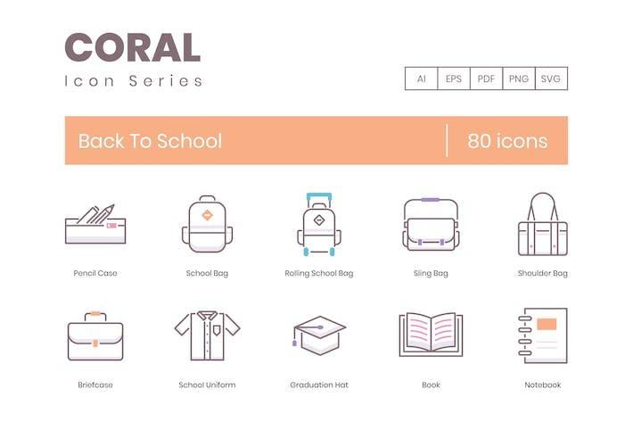 Thumbnail for 80 Íconos Volver a la Escuela | Coral Series (liso)