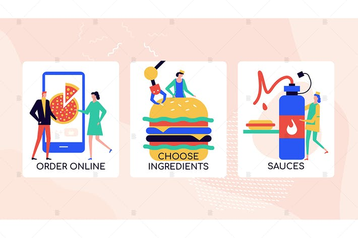 Thumbnail for Ordering food online colorful banners