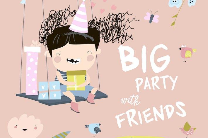 Thumbnail for Cartoon Urlaub Karte für kleine Mädchen. Happy Birthd