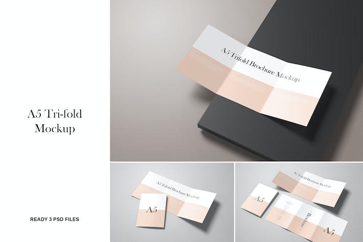 Thumbnail for A5/A4 Tri-Falt-Broschüre Mockup
