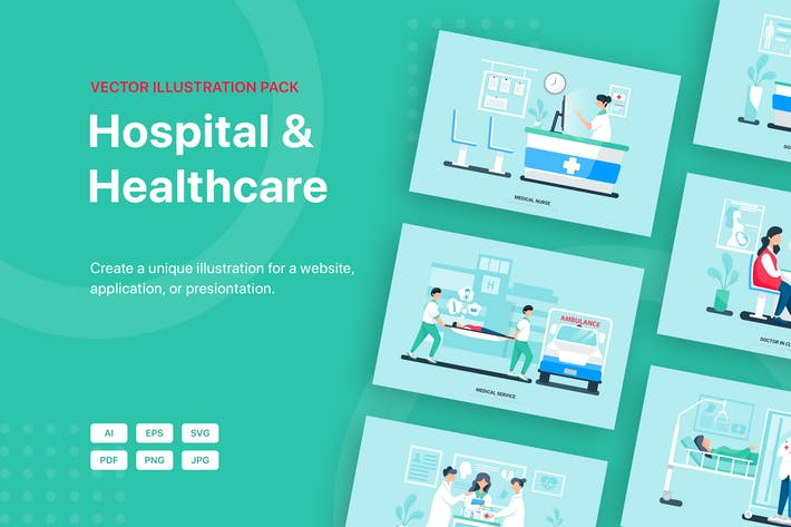 Thumbnail for Hospital and Healthcare Vector Scenes