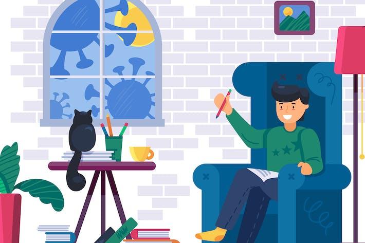 Thumbnail for Иллюстрация «Остаться дома в карантине»
