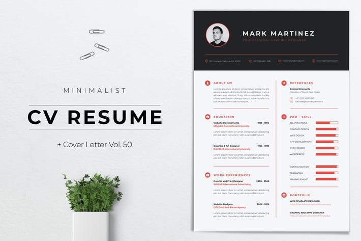 Thumbnail for Minimalist CV Resume Vol. 50