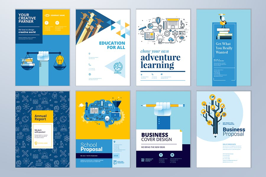 Brochure cover design and flyer layout templates