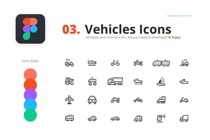 24 Fahrzeuge Icons