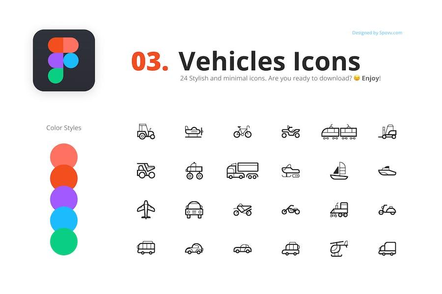 24 Vehicles Icons