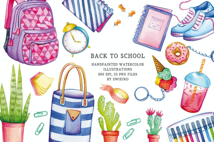 Thumbnail for Back to School illustration set