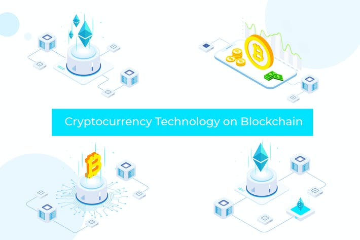 Cryptocurrency Technology Blockchain Isometric FV