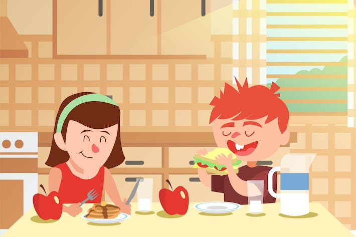 Thumbnail for Breakfast with Girl Friend - Vector illustration