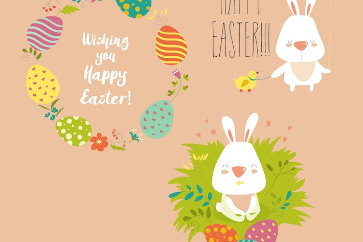 Cover Image For Vector illustration, collection of Easter bunny