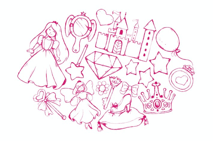 Cover Image For Fairytale Princess Doodles
