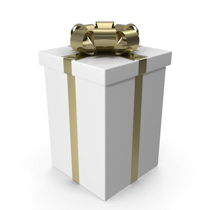 Weiße Geschenkbox mit goldener Schleife