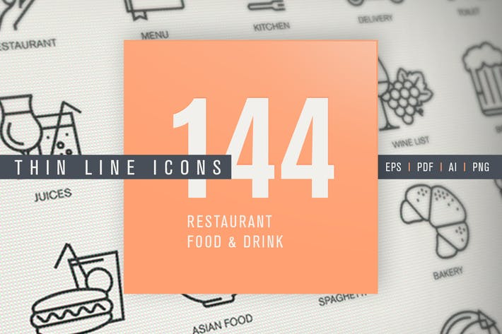 Thumbnail for Set of Thin Line Icons for Restaurant, Food, Drink