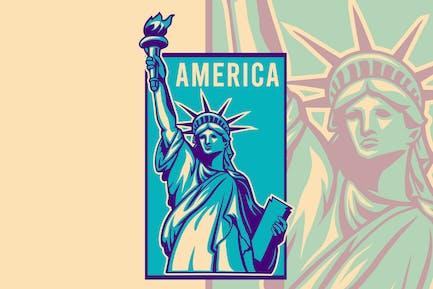Liberty statue america vector illustration
