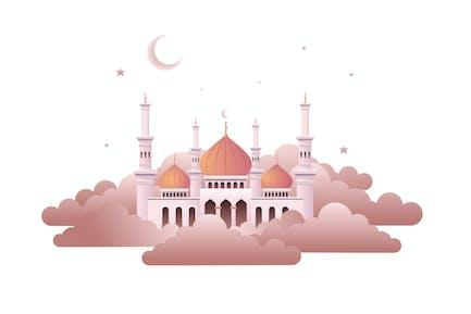 Mosquée dans les nuages - Illustration AS