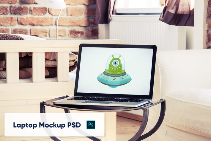 Thumbnail for Laptop Mockup PSD in luxury interior