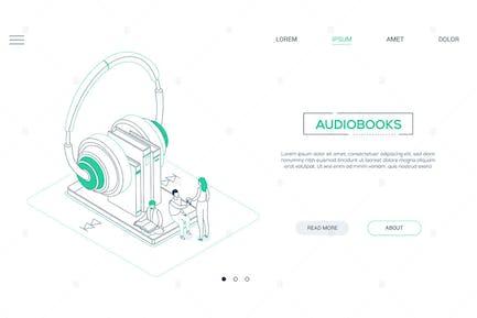 Audiobooks - line design isometric web banner