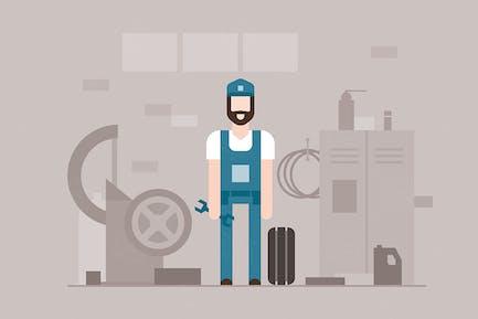 Motormechaniker - flache Design-Stil Illustration