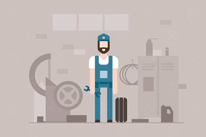 Thumbnail for Motor mechanic - flat design style illustration