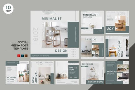 Interior Design Social Media Kit PSD & AI