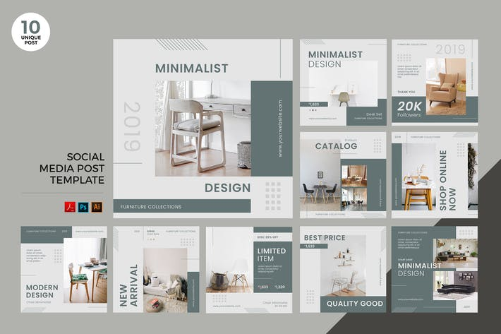 Thumbnail for Interior Design Social Media Kit PSD & AI