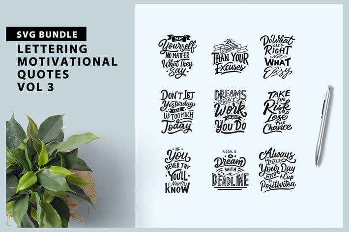 Cover Image For Lettering Motivational Quotes Vol 3
