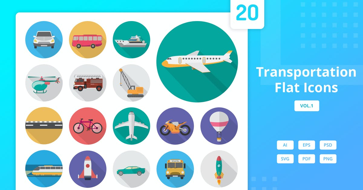 Download Transportation - Flat Icons by Graphiqa