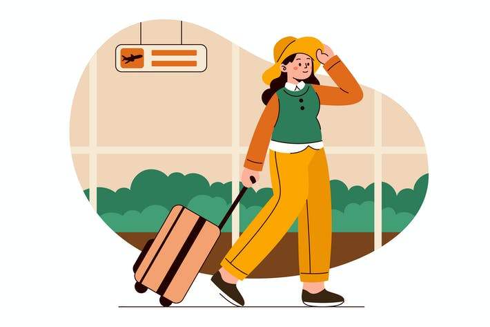 Traveling Flat Illustration