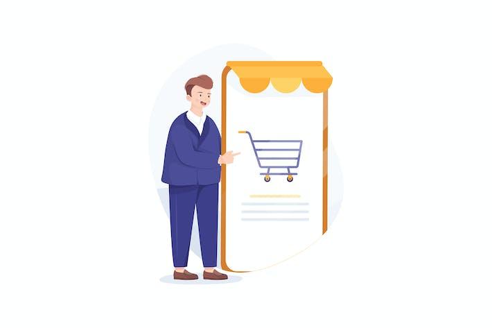 Thumbnail for Glücklicher Geschäftsmann stehen neben einem großen Smartphone