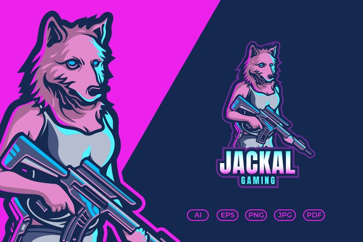 Thumbnail for Wolf Mascot Esport Logo