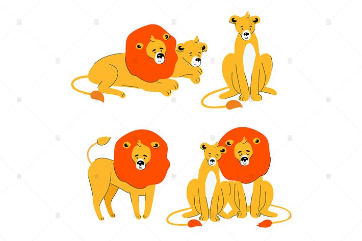 Cute lion and lioness - flat design characters